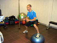 BOSU Step-overs with side resistance